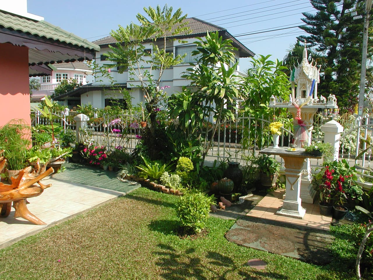 A view of the garden and our spirit house :)
