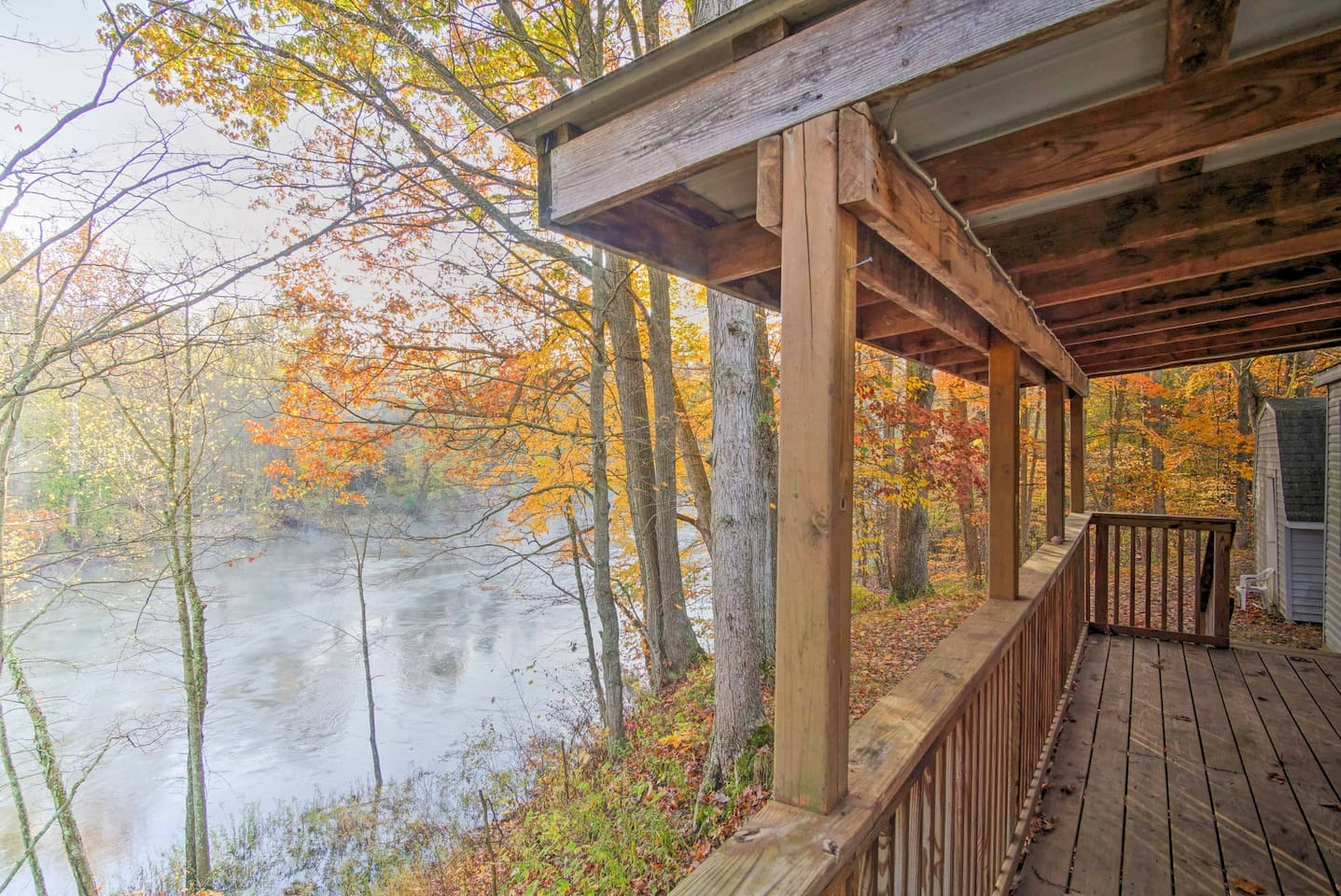 Wake up to the sounds of Muskegon River rushing by in Fremont, Michigan!