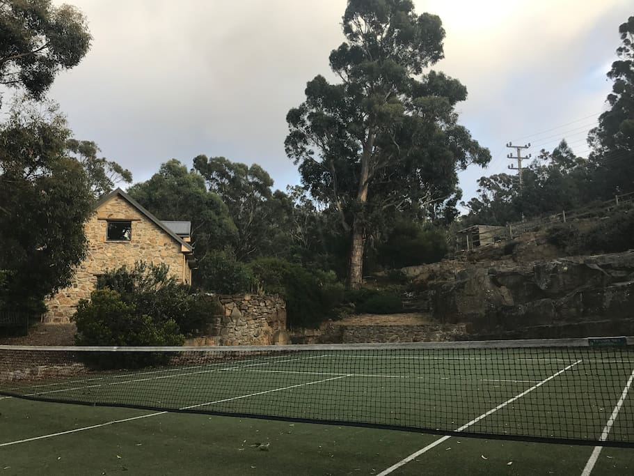 The tennis court where guests can play