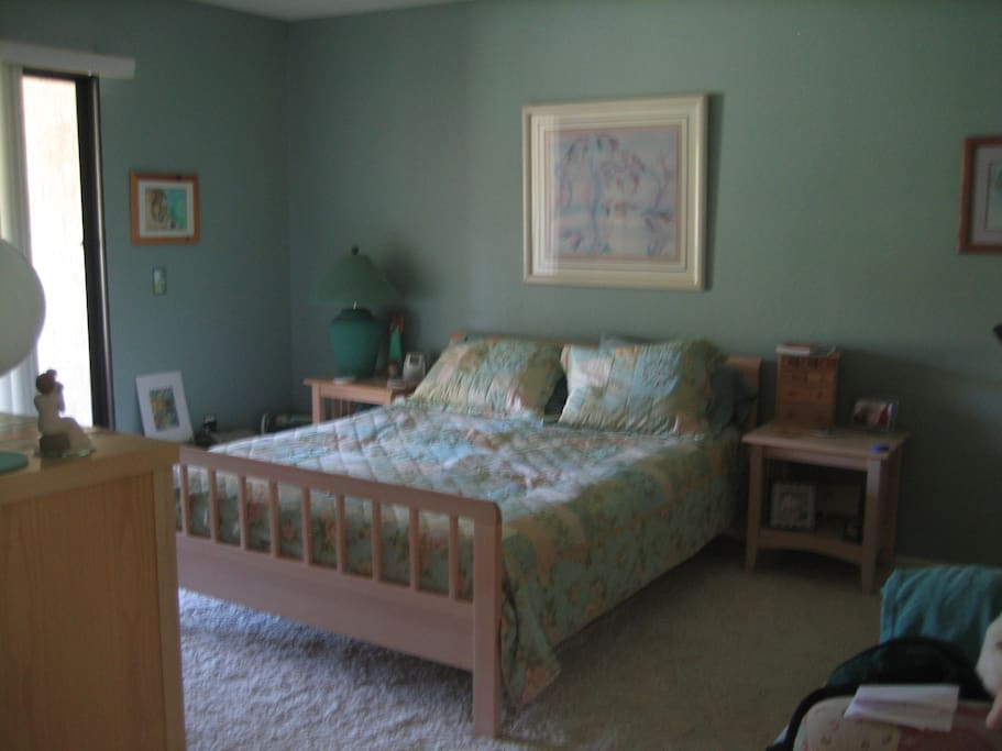 Master bedroom with queen bed,  TV, full bathroom, lovely view