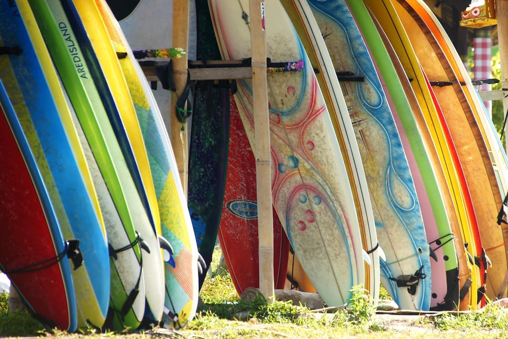 Surfboards for hire at Canggu Beach.