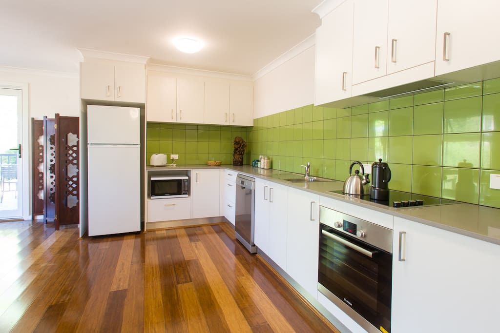 Fully equipped, spacious kitchen.