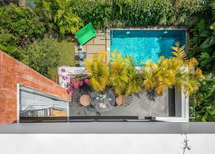 Private pool villa-Vagator - garden & roof terrace