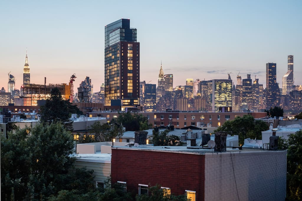 the view of midtown Manhattan from our communal roof