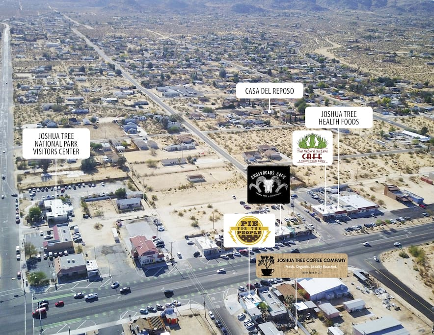 Aerial Photo - Three Block Walk From The Best Cafes/Retail in Joshua Tree