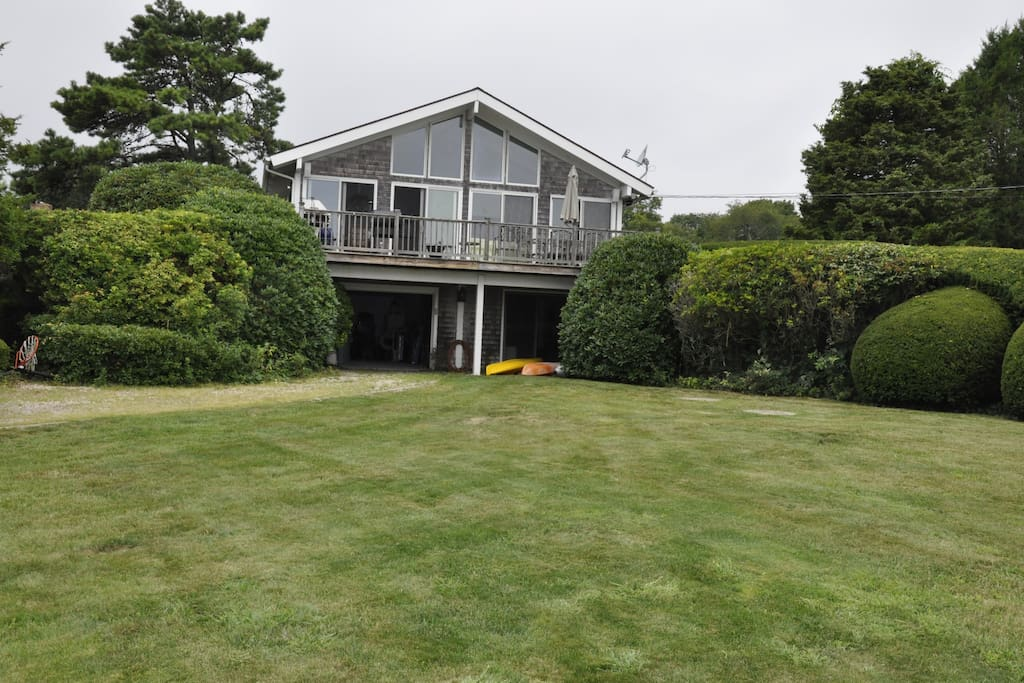 Front view of the home, looks at the water