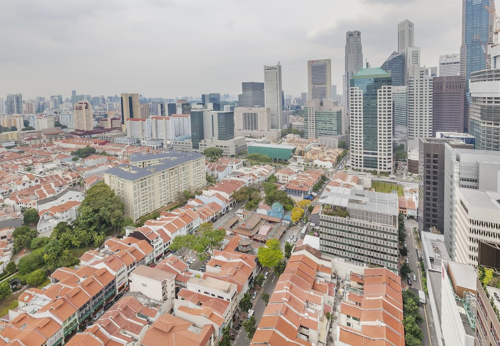 View over heritage shophouses, Chinatown and CBD from lounge, and bedrooms
