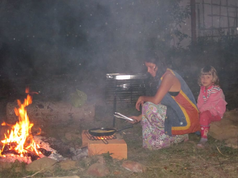 Cooking on the campfire.