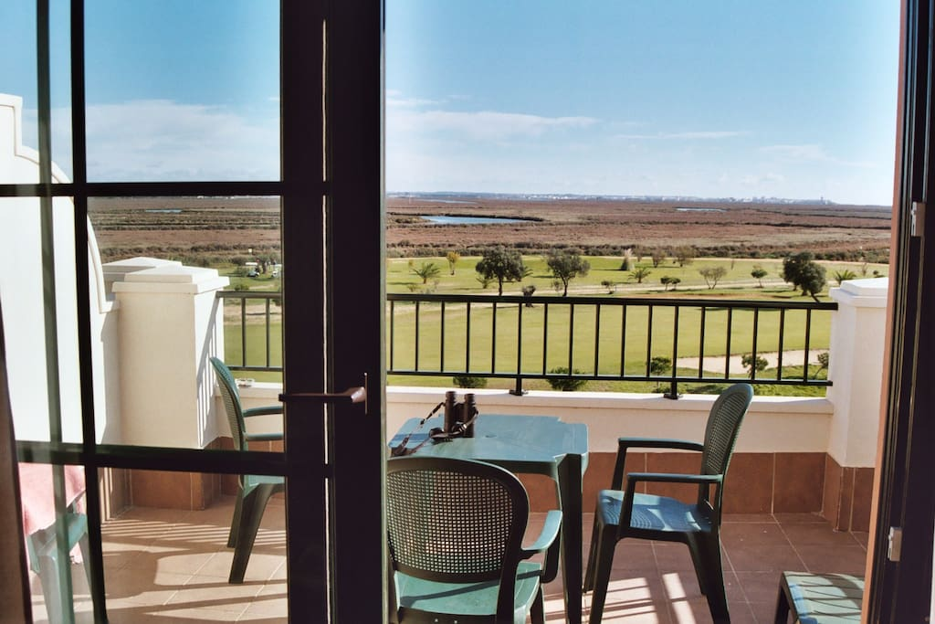 Rear terrace, views across marshes.