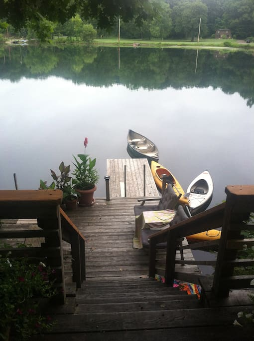 Your own private lake front. Looking down at lower dock.