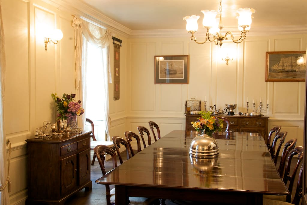 Panelled Georgian Dining Room with table seating 16 - great for special candle lit meals or leisurely breakfasts