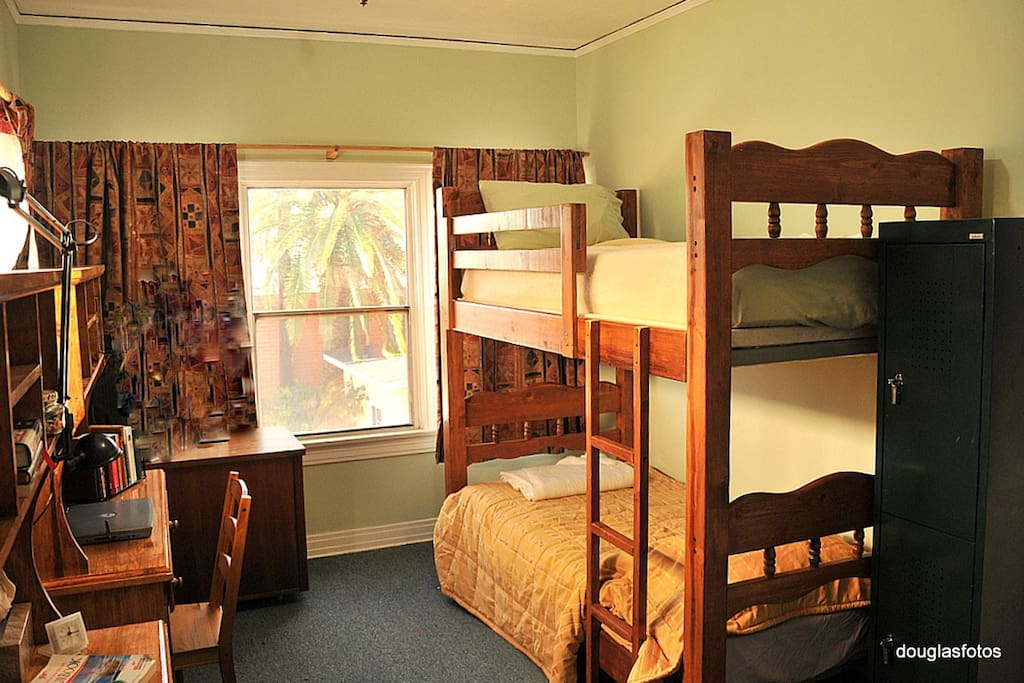 2 bed dorm has a desk & locker for each guest.  Bring your own padlock.