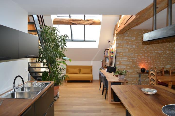 Habitation atypique, jardin, au calme