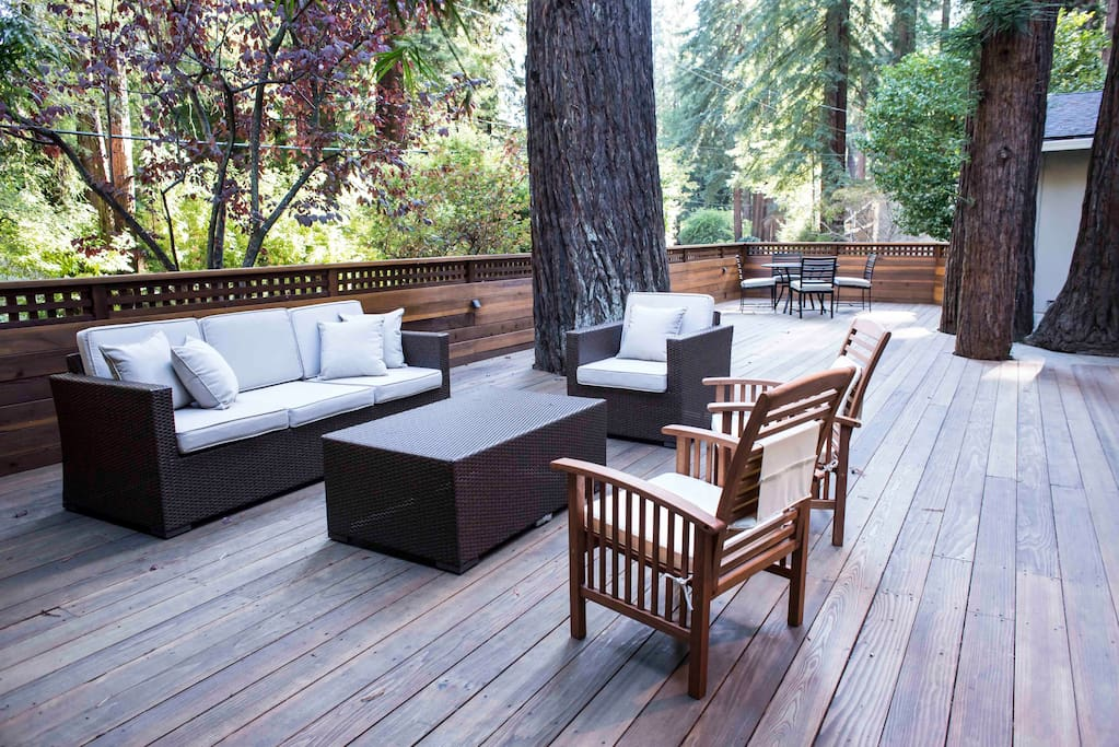 Expansive Front Deck with Redwoods coming through the deck