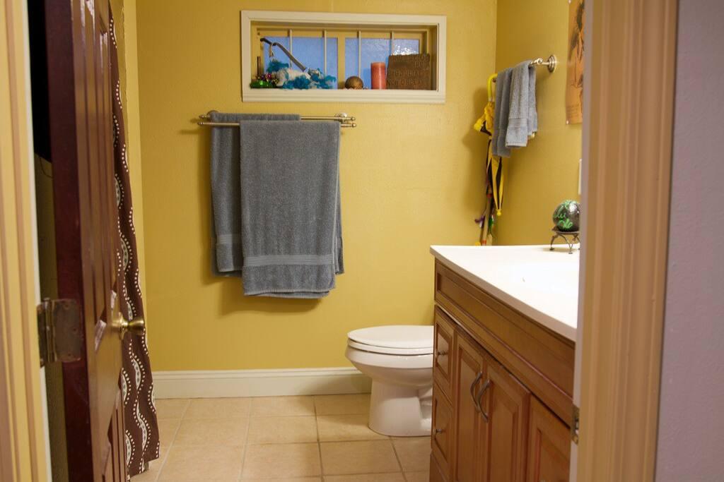 Suite bathroom has a shower enclosure and vanity sink.