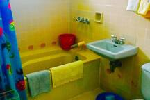 Bathroom with shower and bath tub, hot water and toilet