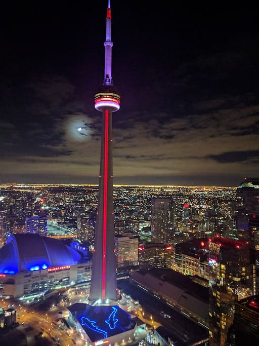 Night View from your bedroom and also Living Room! You can see CN Tower 24/7