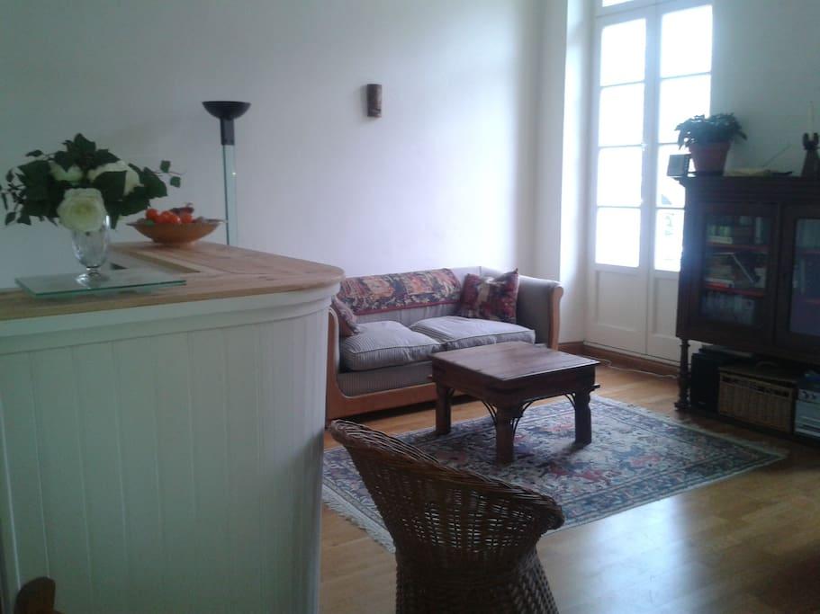 salle de séjour avec canapé-lit