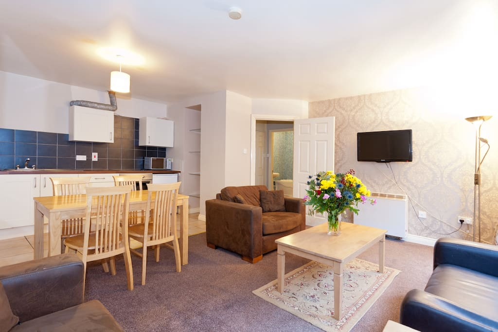 This sitting room boasts the largest living area of any of our one bedroom apartments.