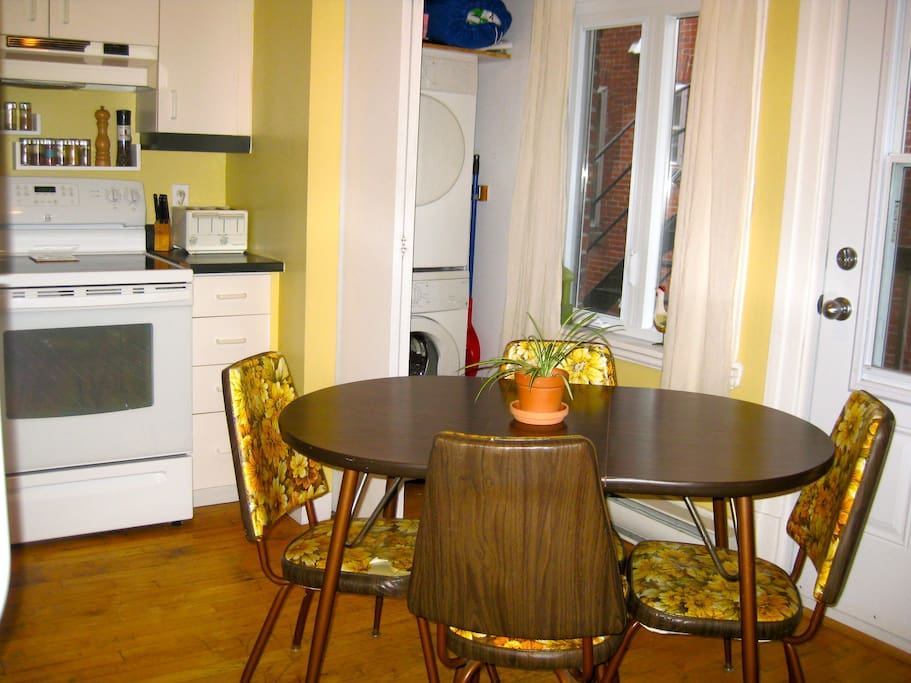 Vintage table and chairs but brand-new appliances!