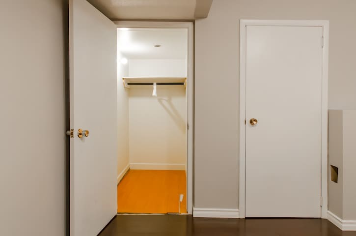 Walk in closet on the right there is a big storage room that you can use as well