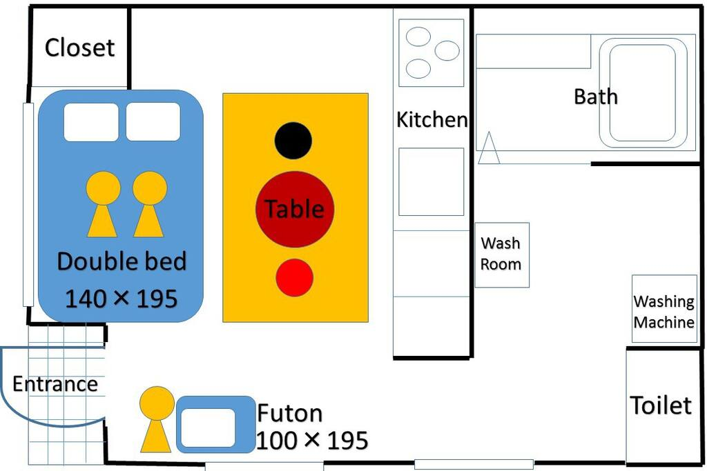 1Room Double bed ×1 Futon ×1 3people can stay.