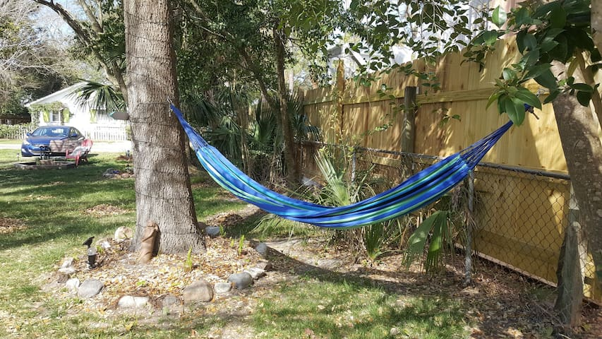 chill out in the backyard in the shared hammocks!
