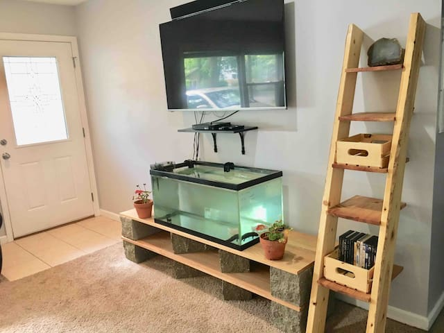 Smart TV, Netflix and WiFi, Bluetooth enabled sound bar, blue-ray player and several DVDs. Fish tank holds 3 axolotls