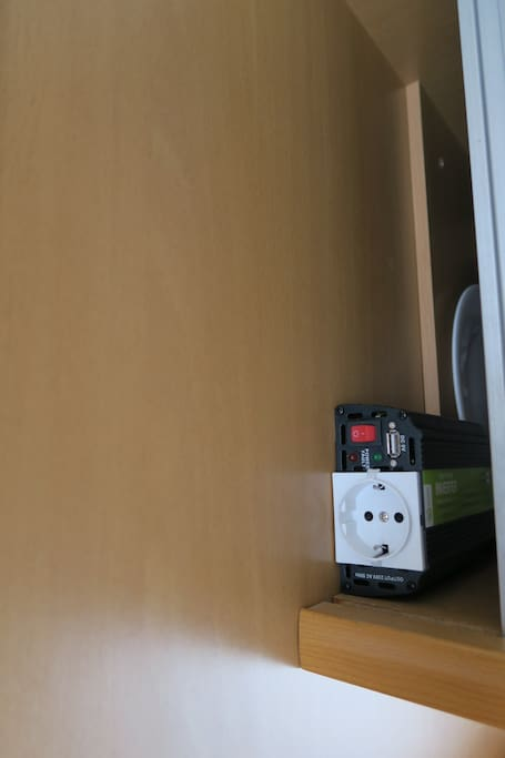 Power inverter, allows you to connect laptop, camera, etc.