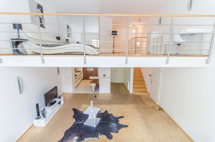 Elegant Snow White Loft with Jacuzzi in the center - Prague - Apartment