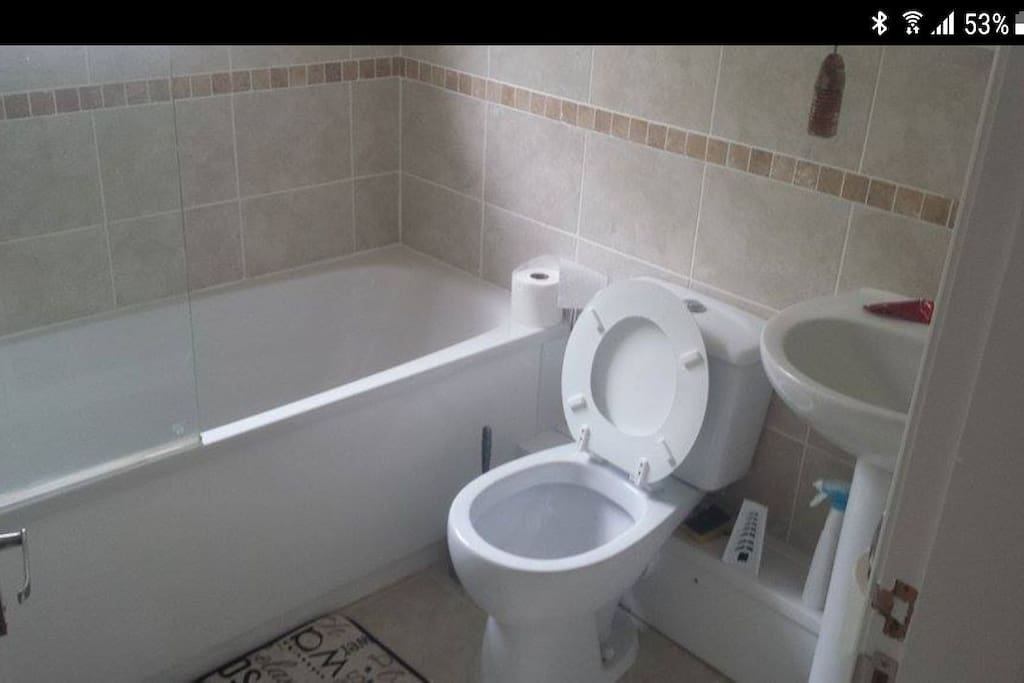 clean bath/shower toilet and sink with mirrored cabinet and towels provided