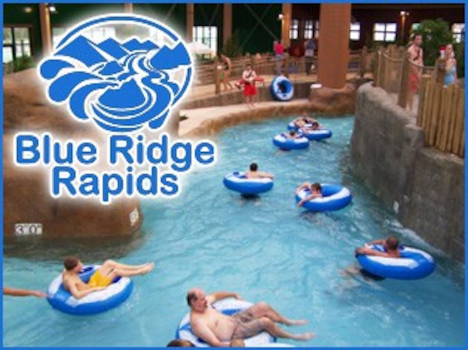 The waterpark has a relaxing lazy river.