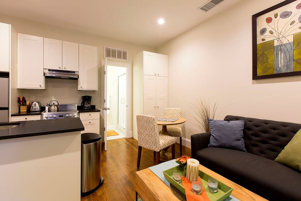 Open floor plan with in-unit laundry