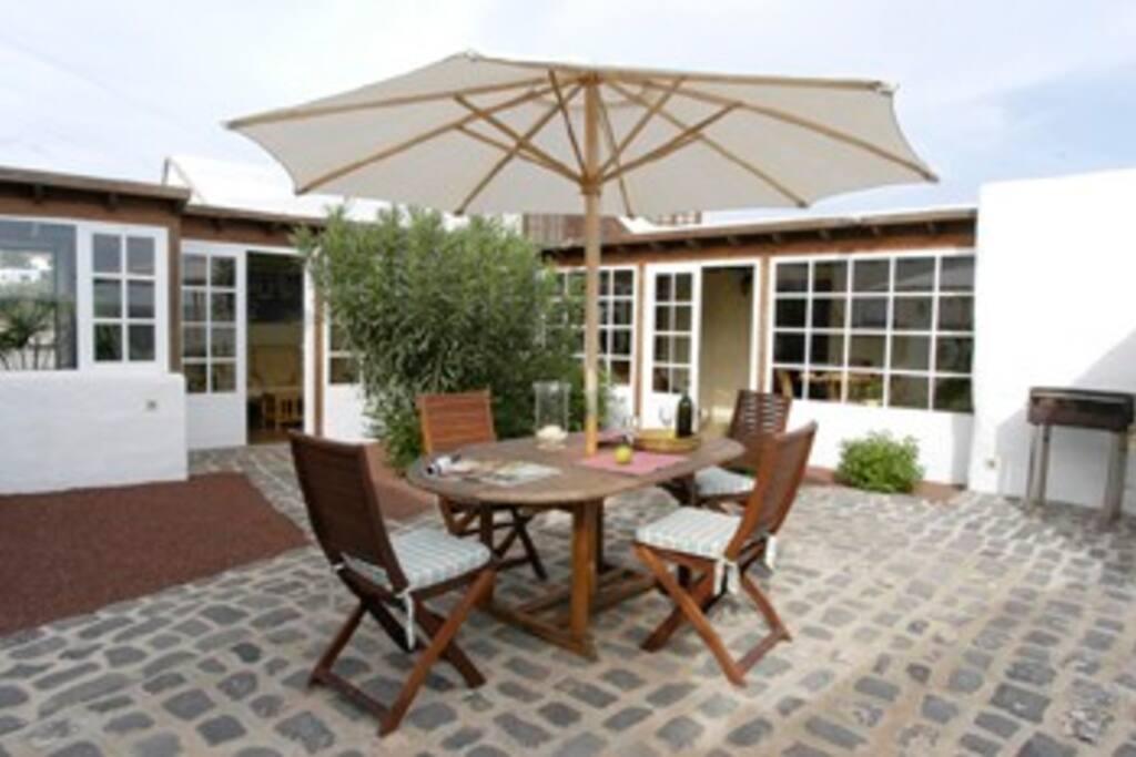 Indoor patio with BBQ area