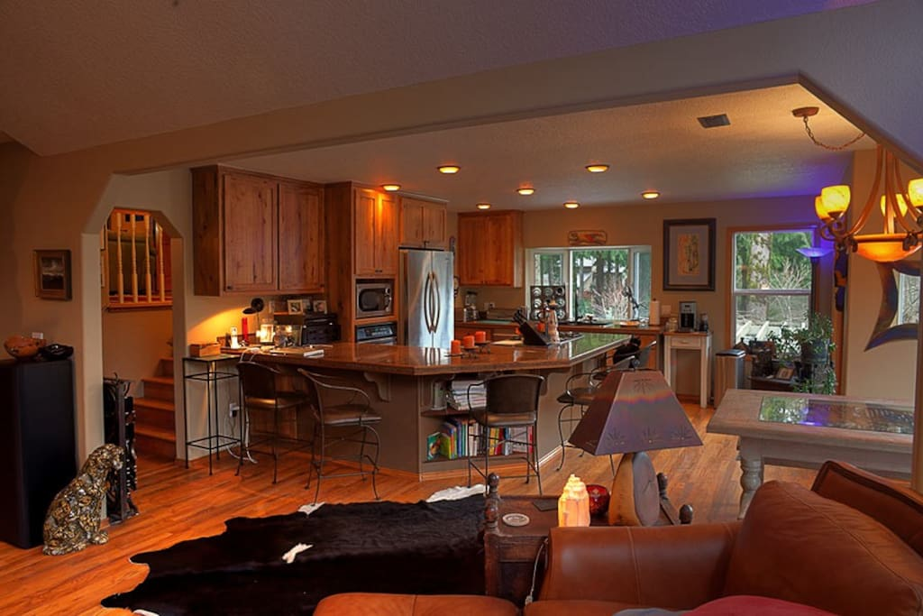 View of the full kitchen from the main living room.