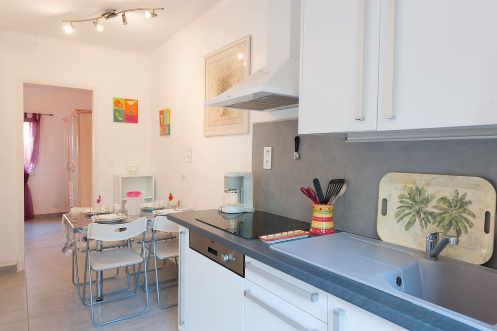 La pièce principale avec cuisine équipée(réfrigérateur/congélateur, lave vaisselle, plaques vitrocéramique, micro-onde...)