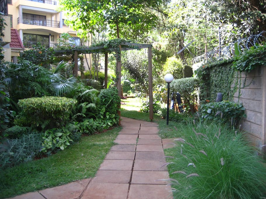 Lush gardens within the compound.