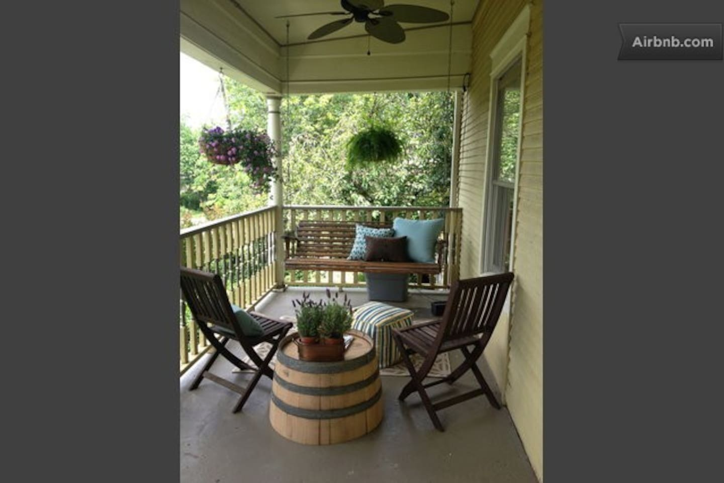 The sitting area on the from porch