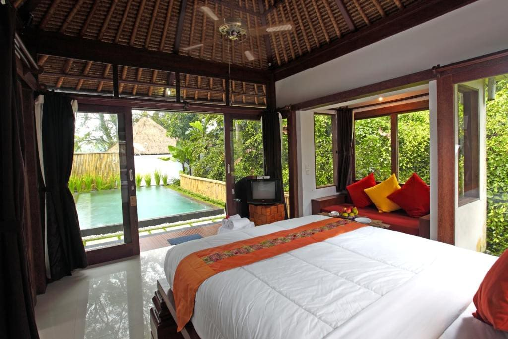 The interior of Villa Ananda, looking out on the pool.