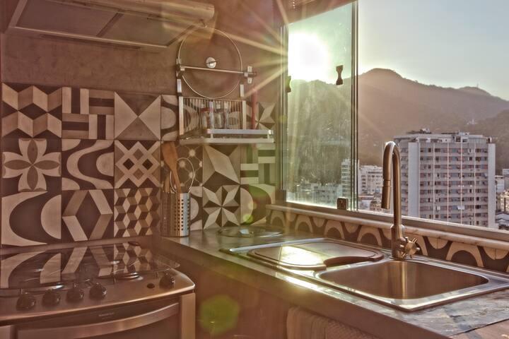 Pôr do sol na cozinha/sunset from kitchen window