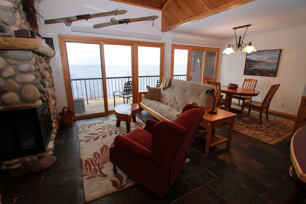 Enjoy beautiful views of Lake Superior from the windows or the private balcony.