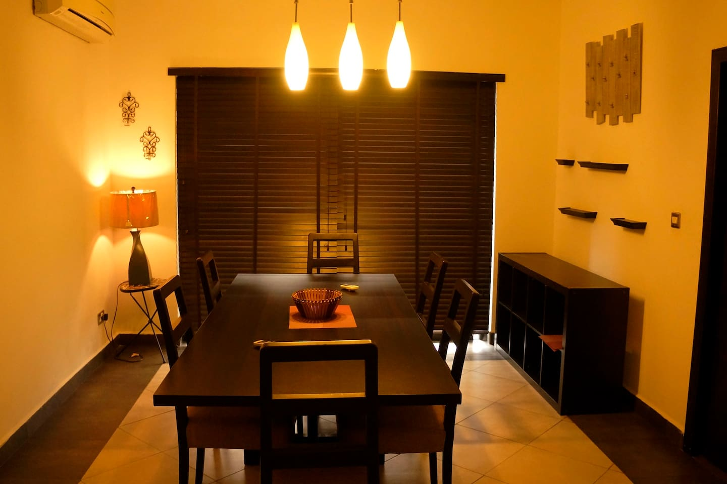Warm lighting for dining table