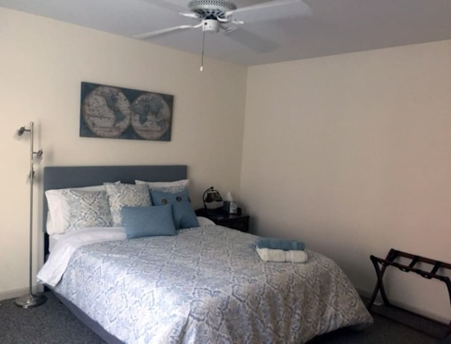 a ceiling fan, walk-in closet, dresser, luggage rack