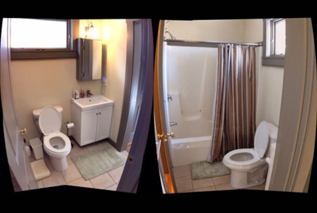 Shared bath adjacent to Room with shower/bath