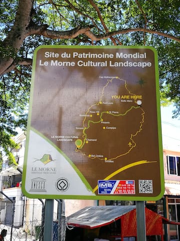 Le Morne Brabant mountain situated as part of The Le Morne peninsula at the extreme southwest coast of Mauritius is a popular attraction in Mauritius and a UNESCO World Heritage Site. It is approximately 79km from Belle Mare.