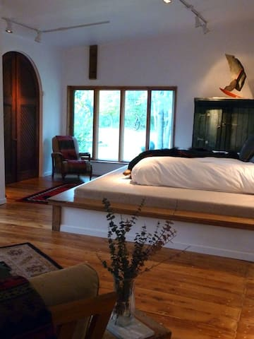 Large windows with beautiful views to the sculpture garden and Sacandaga River
