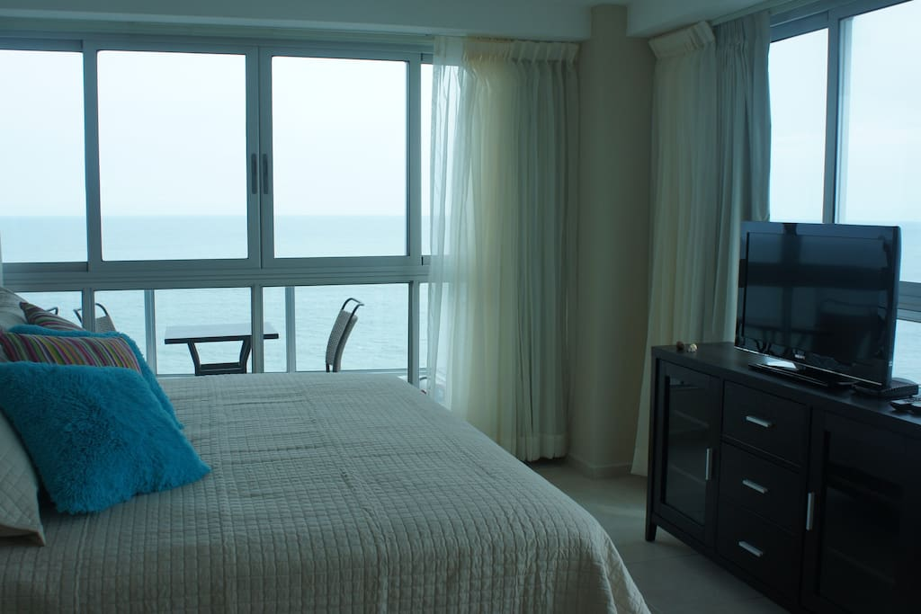 Panoramic view of ocean from master bedroom