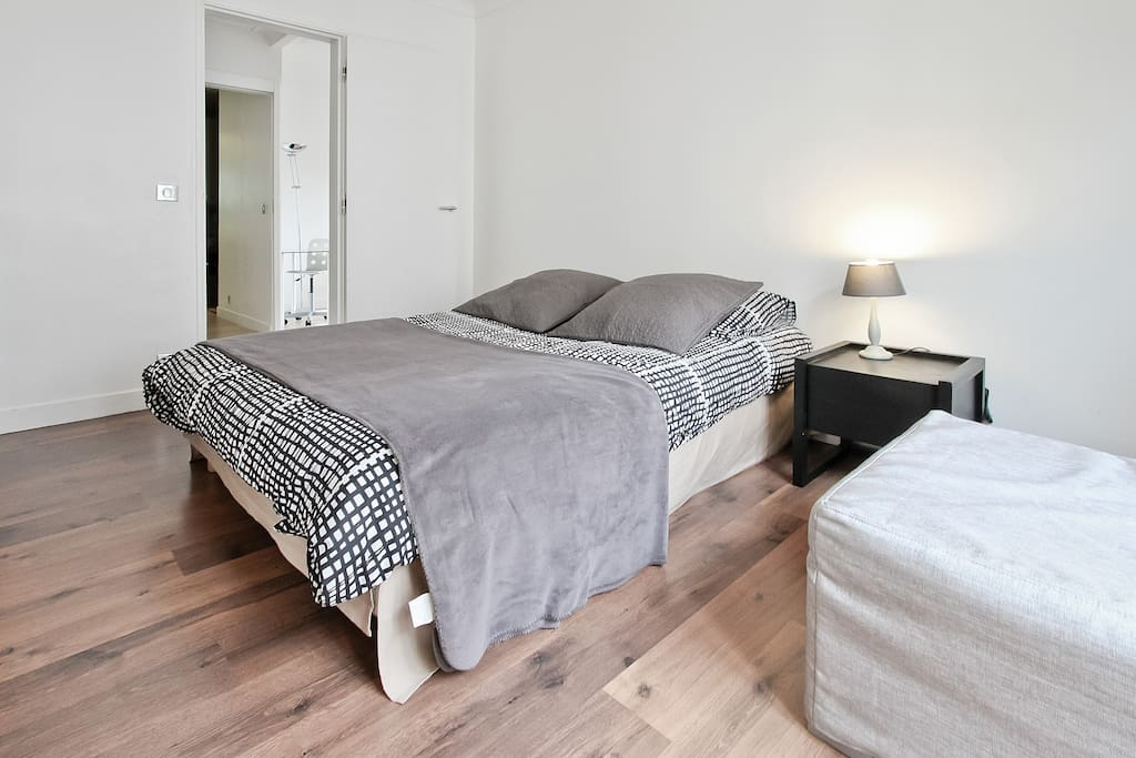 The bedroom is accommodated with a big and comfortable bed