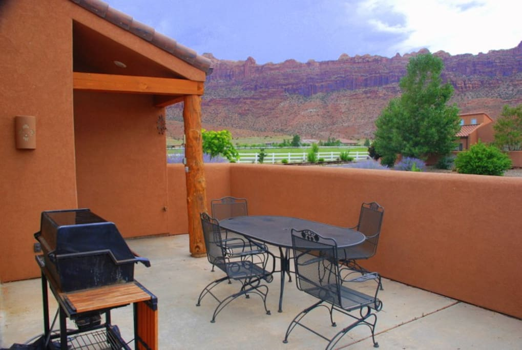 Great views of the Moab Rim from our patio which has a gas grill.