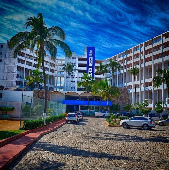 Front of condominium complex